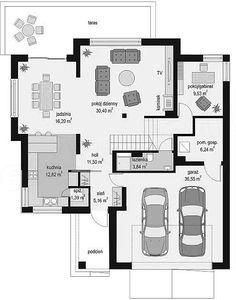 Rzut parteru projektu Szmaragd 5 Free House Plans, Modern House Plans, Facade House, One Bedroom, Planer, Bungalow, Tiny House, Sweet Home, Floor Plans