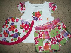 NWTs GYMBOREE Girls Floral Outfit Top/Shorts/Hat 12-18 months SURF Adventure