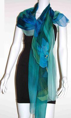 Midnight Iris 100% Silk Handpainted Shawl Made by LeylaNavabArtSilk