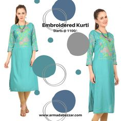 ad120bb987 #Manaf_Poly_cotton_Light_sea_green Stitched Embroidered Straight Kurti Shop  from an immense scope of extraordinary kurtas and Kurtis