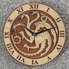 Game Of Thrones, Wall Clock Silent, Wall Clocks, Cersei Lannister, Winter Is Here, Wooden Clock, Mother Of Dragons, Artisanal, Gifts For Friends