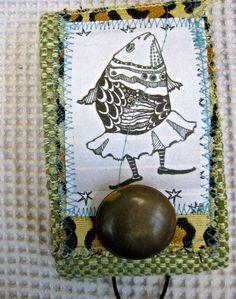 Fabric needle case handmade pin cushion book tateam green Dancing fish in a skirt drawing