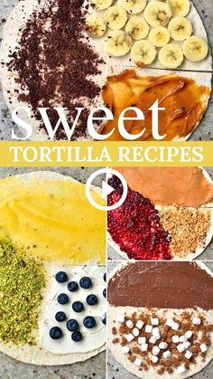 Wrap Recipes, Snack Recipes, Dessert Recipes, Cooking Recipes, Tortillas, Tortilla Dessert, Famous Desserts, Snacks Saludables, Tasty