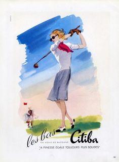 1946 Golf, Hosiery Illustrator   Pierre Pagès Brand  Citiba (Stockings)