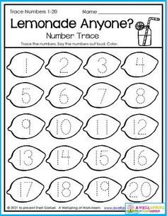 In this worksheet kids trace the numbers 1-20 on the lemons. Please check out my entire set of August Counting Worksheets. It includes number tracing worksheets like this one, along with counting to 5, counting to 10, color by number, graphing, and more. I know you won't be sorry if you checked it out. On the contrary, you'd be so happy you did! Counting Worksheets For Kindergarten, Summer Worksheets, Graphing Worksheets, Kindergarten Age, Trace Trace, Number Tracing, Writing Lines, Learn To Count, My Teacher