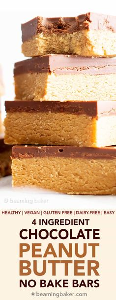 4 Ingredient Easy Vegan Chocolate Peanut Butter Bars (Gluten Free, Healthy, Dairy-Free) - Beaming Baker