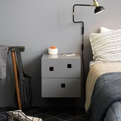 Peep Wall Nattbord, Angel White/Ask - Håkan Johansson - Zweed - RoyalDesign. Bedside Cabinet, Dresser As Nightstand, Floating Nightstand, Hygge Home, Bed Table, Night Table, Scandinavian Design, Wall Mount, Master Bedroom