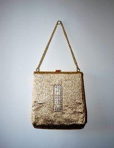 Gold 1960's purse. Vintage evening bag / Gold lurex and rhinestone / Metallic purse / Mad Men style / Gift under 15