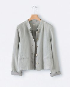 Image of Short linen jacket Sewing Coat, Sewing Clothes, Womens Linen Clothing, Linen Jackets, Men's Jackets, Linen Blouse, Jacket Pattern, Grey Fashion, Gray Jacket