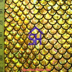 Gold Large Fish Scale on Black Lycra Fabric by JoyTheSeamstress Merman Tails, Mermaid Wallpapers, Mermaid Fabric, Mermaid Swimming, Fish Scales, Hologram, The Little Mermaid, Prints, Gold