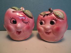 Vintage Anthropomorphic Apple Salt and Pepper Shakers by hopsack