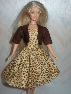 Handmade Barbie clothes  brown animal print by TheDesigningRose, $11.00