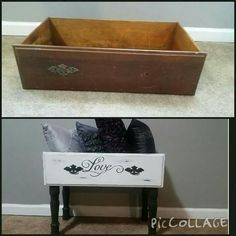 Such a cute way to repose old dressers Refurbished Furniture, Repurposed Furniture, Shabby Chic Furniture, Furniture Makeover, Recycled Dresser, Old Dresser Drawers, Old Dressers, Dresser Drawer Crafts, Diy Drawers
