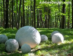 Concrete Sphere sculpture by Marji and David Roy- Tutorial at AshbeeDesign.com