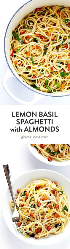Lemon Basil Spaghetti with Almonds
