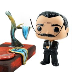 Funko! Pop Custom of Salvador Dali. 4 Vinyl figure 5 x 3 x 0.7 Wooden base and sculpted tree and molten clocks from Dalis painting The Persistence of
