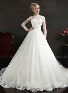 Wedding Dresses - $183.97 - A-Line/Princess Scoop Neck Cathedral Train Tulle Wedding Dress With Lace (0025061654)