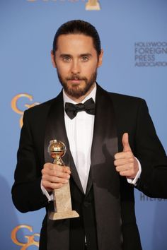 Thumbs up for Jared Leto's Golden Globes win!