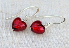 Earrings Venetian glass hearts in ruby red over gold by DolceBeada, $28.00