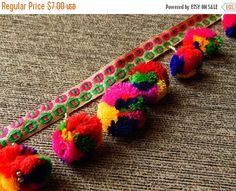 15% OFF Colourful Pom Pom Trim, Embroidered Trim, Belt Trim, Tassel Trim - 2 yards