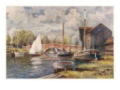 Wroxham Bridge, with Yachts and Other Boats Giclee Print at Art.co.uk
