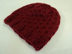 Handcrafted Bulky Slouchy Hat Red Textured Acrylic Wool Mix Female Adult -- New No Tags