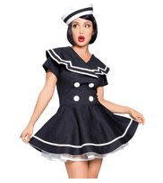 2 PC. Classic Tailored Pinup Sailor Captain Pinup Girl Style Halloween Costume (Incl. Adorable Dress & Hat)