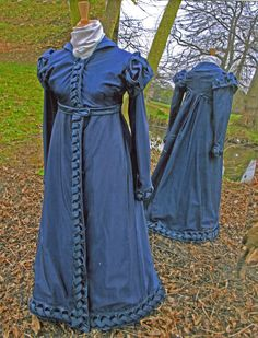 Sarah Woodington chose to make a c1818-23 deep blue pelisse recreating the original that is held in the Gloucester Museum collection.