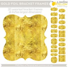 INSTANT DOWNLOAD Gold Foil Bracket Frames Clip Art By LimonYellow