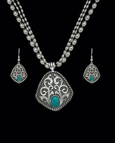 Montana Silversmiths® Ladies' Silver and Turquoise Jewelry Set::Accessories::New Arrivals Fall::FEATURES::Fort Western Online