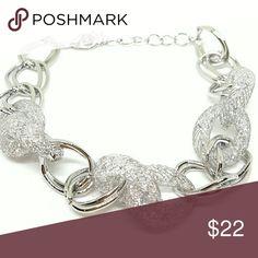 Silver-Tone Mesh Bracelet With Sparkling Stardust Silver tone Jewelry Bracelets