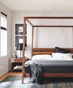 Room & Boards Walnut Dreamer Bed and Bedside Table  #beddesign #bedroom via @remodelista
