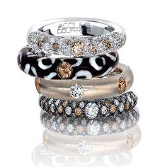 Adolfo Courrier Jungle Choco 18 Karat White Gold, Enamel, Brown & White Diamond Stack Ring Set