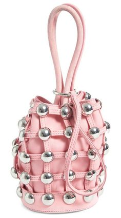 mini roxy studded suede bucket bag by Alexander Wang. A stud-embellished suede cage surrounds the slouchy leather silhouette of a small-scale bucket bag featuring a polish...
