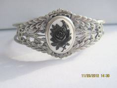 Black Rose with Bird on a Antique Silver by Belladesigns2010, $15.95