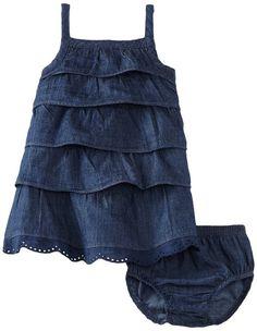 Amazon.com: Calvin Klein Baby-girls Infant Denim Ruffled Dress with underwear