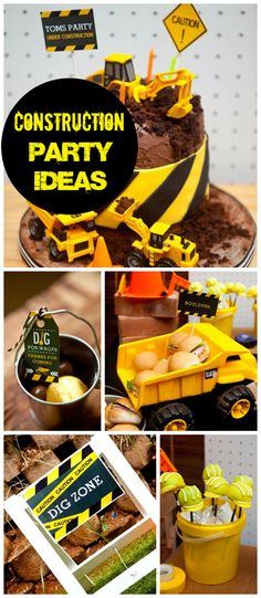A construction themed boy birthday party with fun party food and decorations!  See more party planning ideas at CatchMyParty.com!