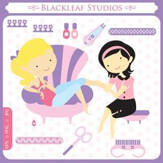 Baby Nail Spa digital clip art illustration - parlour, beauty, care, painting nails, beautician, scrapbooking - Personal and Commercial