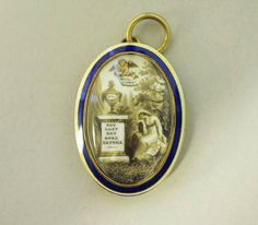 "Gold Mourning pendant....inscribed.."" WEL - COME...ML...NOT LOST BUT GONE BEFORE""....ca. 1793....enamel on ivory with hairwork."