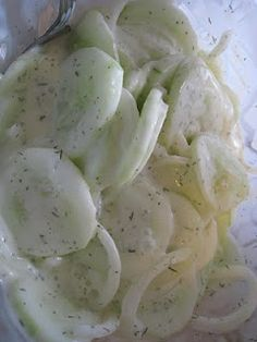 Cucumber Salad.  But I grew up with it made with sour cream instead of mayonnaise.  It was a part of summer.    Something cold to eat when it was steaming hot out.