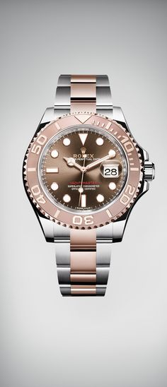 The Rolex Yacht-Master 40, Rolex's emblematic nautical watch, is being introduced for the first time in Everose rolesor - a combination of Oystersteel and 18 ct Everose gold - with a chocolate dial.