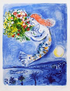 Chagall, Marc, La Baie des Anges, 1962- A stunning work that takes you away to one of Chagall's favorite places!