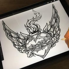 Burning heart with wings monochrome sketch created by DGIM studio - a graphic design studio with many years of experience! Need a creative logo design or illustration for your business? CLIK ON THE LINK & CONTACT US! Cool Chest Tattoos, Badass Tattoos, Tattoos For Guys, Heart With Wings Tattoo, Sacred Heart Tattoos, Rose Tattoos, Body Art Tattoos, Sleeve Tattoos, Graphic Design Studios