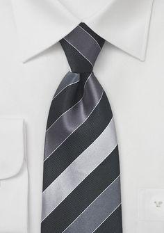 Krawatte Business-Streifen silber