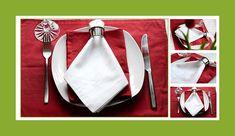 Servietten falten Krawatte mit Ring Anleitung 02