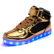 sneakers for cheap 6bf6c 54cf7 Alta calidad de 8 colores led zapatos otoño invierno 2016 High Top  creciente luminoso oro