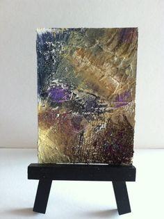 ACEO, Original Acrylic Abstract, Textured Art Card, Earth Colors, Garnet, Lavender, Home Decor, Wall Art, Contemporary