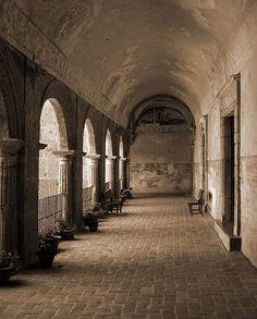 Interior view of Yuriria Convent, founded in 1550, Yuriria, Guanajuato, Mexico.