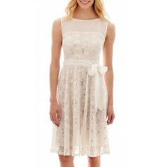 592272d167c Taylor Sleeveless Fit and Flare Lace Dress with Waist Tie - JCPenney