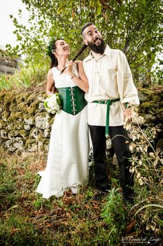 Our viking / celtic like wedding. All DIY : dress, leather corset shoes and belt!